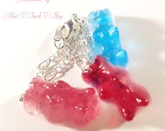Kawaii Gummy Bear Charm Bracelet, Resin Candy Jewelry, Sweet Lolita, Hime Gyaru, Harajuku, Japanese Street Fashion