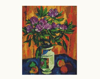 Cross Stitch Kit Still Life with Peonies in a Vase by Pyotr Konchalovsky, Floral Cross Stitch, Embroidery Kit, Needlework DIY Kit (PYOTR03)