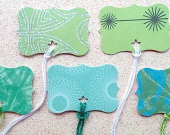 "75 Aqua/Green ""flourish"" tags"