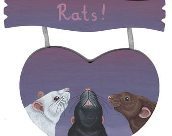 Rats!  Heart Shaped Hanging Room Sign