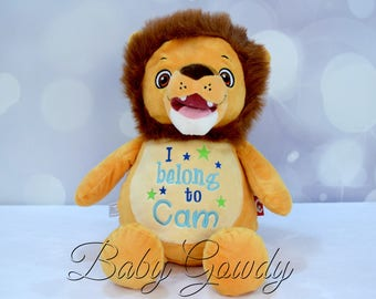 Personalized lion etsy personalized stuffed animal personalized lion embroidered stuffed animal birth stat animal new negle Images