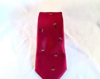 Vintage Red Geometric Skinny Tie
