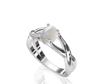 Dainty Solitaire Australian Opal Ring in 925 Sterling Silver SKU: R2308-925