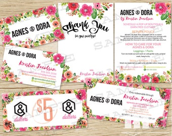 Agnes and Dora Marketing Kit, Business Card, Thank You / Care Card, Agnes & Dora Bucks Dollars Coupon, Floral Design Bundle Pack, PRINTABLE