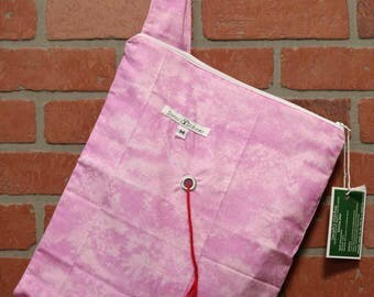 Medium Knitting Bag, Crochet, Knit, Yarn, Wool, Pink, Yarn Storage, Yarn Bag with Hole, Grommet, Handle, MYB11