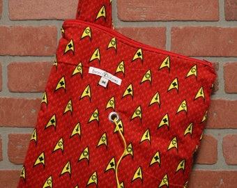 Medium Knitting Bag, Crochet, Knit, Yarn, Wool, Star Trek, Flannel, Yarn Storage, Yarn Bag with Hole, Grommet, Handle, MYB35