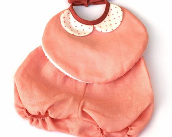 Bloomer linen pink baby girl bib