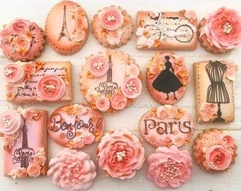 12 Assorted Vintage Paris Couture Sugar Cookies