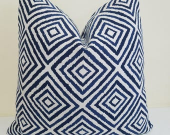 Navy Blue White Sunbrella Pillow Cover - Indoor/Outdoor Sunbrella Pillow- Deck Pillow Cover, Geometric Outdoor Cushion