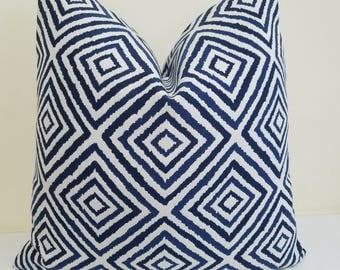 Navy Blue White Sunbrella Pillow Cover - Indoor/Outdoor Sunbrella Pillow- Deck Pillow Cover, Geometric Outdoor Cushion