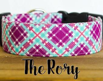 "Purple, Raspberry & Ice Frappe  Modern Girly Plaid Dog Collar ""The Rory"""