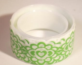 Frieze adhesive green white flowers and hearts 15mm x 1.5 meters