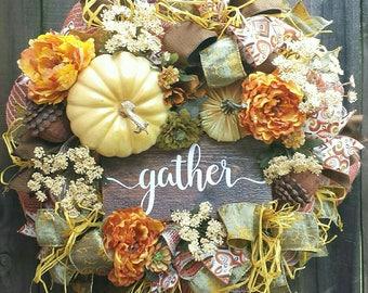 Fall wreath, Fall mesh wreath, Gather wood sign, Fall wreaths, Fall Pumpkin Wreath, Fall door hanger, Fall decor, Pumpkin decor, Fall
