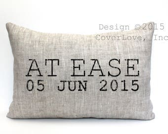 "at ease pillow, military retirement gift, military gift, army gift, navy gift, air force gift - ""At Ease"""