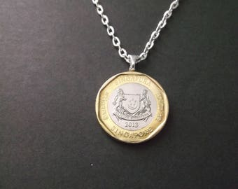 Singapore One Dollar Gold and Silver Colored Coin Necklace - Singapore 2013 Coin Pendant