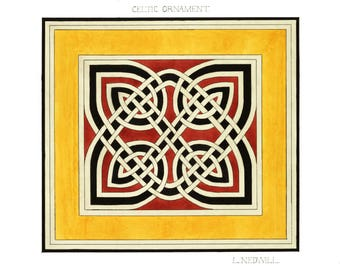 Vintage Drawing Print Celtic Ornament