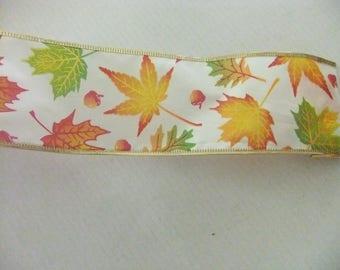 "FALL LEAVES RIBBON/Autumn Ribbon/Wire Edge Ribbon/2.5"" x 9' Ribbon/Fall Decorating Ribbon/Fall Wreath Ribbon"