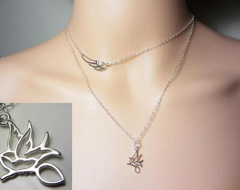 925 Sterling Silver Bird Necklace Sparrow Necklace Layering Necklace Delicate Necklace Beach Necklace Everyday Jewelry Choker Gift for Her
