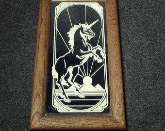 Unicorn and Pyramids Painted Scene On Framed Mirror - Vintage Wall Decor