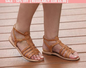 Ancient Greek Sandals, Women's Flats, Natural Flat Sandal, Womens EU 40, Womens US 9, Flat Sandals, Greek Leather Sandals, Womens Shoes