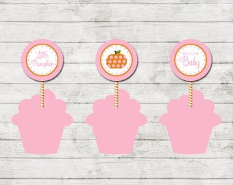 Little Pumpkin Cupcake Toppers - Little Pumpkin Baby Shower - Fall Shower - Party Circles - Pink Orange - INSTANT DOWNLOAD - Printable