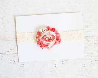 Cream lace headband with floral print flower, Baby Girl Headband, Photo Prop, Baby Girl Lace Headband, Baby girl shower gift, Ready to Ship