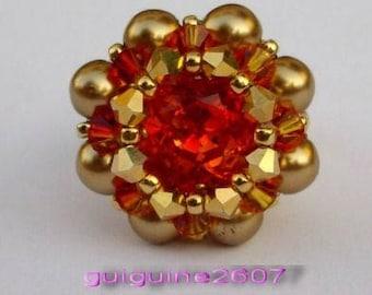 Swarovski crystal ring orange, unique