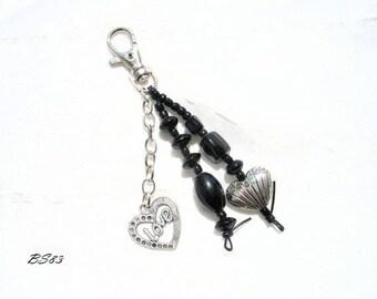Black Heart bag charm love BS83