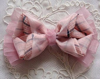 Handmade Ribbon Bow In Mauve And Lt  Pink ( 4.5x2-3/4 inch) MY-693-04 Ready To Ship