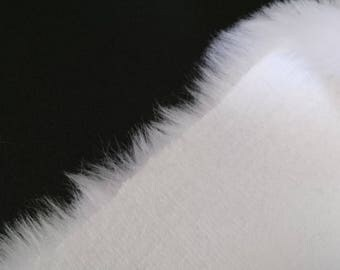 REMNANT 1 metre approx luxury pure white pelt faux fur fabric
