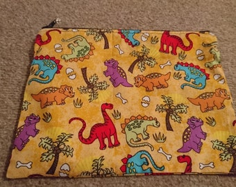 "Handmade Lined Zipper Pouch Yellow  Dinosaurs  8. 5"" x 6"""