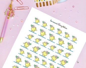 PP01 - Yoga Pilates Stretching Gym Time Printable Planner Stickers    Pihaaloha Pineapple