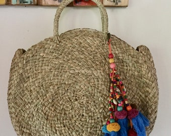 Pompon Malty  Handmade Rattan|Ata Grass Round bag; Bali bags;; Boho bag; Hippie Bags; Made from Bali, Indonesia