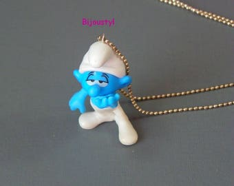 "Child necklace * ""Sulky Smurf"" * silver ball chain *."