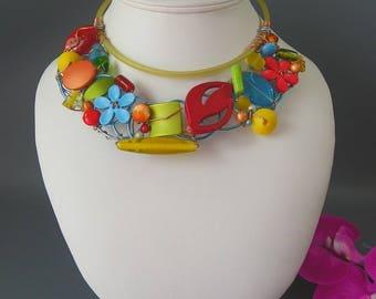 """""""The unique"""" full / color - multicolor 7 fashion necklace"""