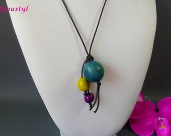"Long necklace ""TAGUA"" with its different sizes - black waxed cotton cord tagua seed"