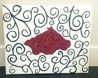 Glitter Whimsical Razorback Canvas