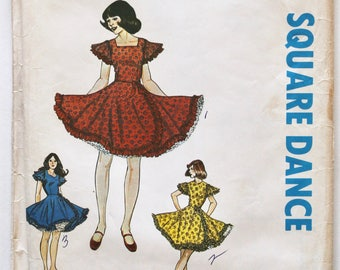 Vintage 1980s Womens Ruffled Skirt Square Dance Dress Sewing Pattern Size 16 Authentic Patterns 280