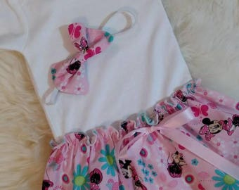 Disney Minnie Mouse Carter's Onesie Baby Dress with matching headband, Minnie Mouse Baby Bodysuit with Skirt, Baby dress baby outfit