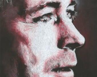 Original A4 chalk drawing of Aidan Gillen.