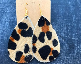 Animal Print Leather Teardrop Earring, leather statement earring, animal print earring