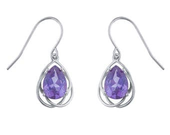 4 Ct Alexandrite Pear Teardrop Design Dangle Earrings .925 Sterling Silver