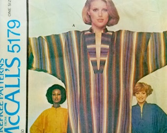"""Vintage Misses Caftan or Tunic Top, Dolman Sleeves, McCall's 5179 Sewing Pattern EASY Make It Tonight, One Size Fits All, Bust 31.5 to 48"""""""