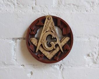 Free masons Masonic fraternal order wall hanger plaque hidden messages vintage hourglass compass resin