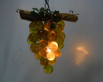 Vintage Mid Century Modern Swag Light * Lucite Grape Cluster Pendant Lamp