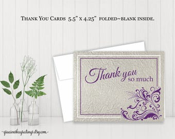Thank You Cards, Thank You Notes, Thank You Stationery, Personalized Thank You Cards, Birthday, Bridal, Vow Renewal, Printable TY611