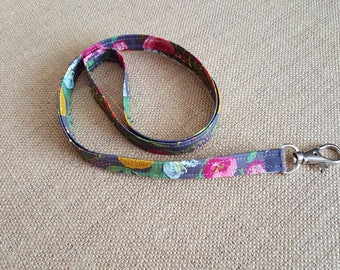 Fabric Lanyard Keychain /ID Badge Holder in Floral Print