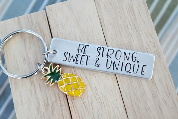 Be Strong Sweet & Unique ~ LIGHT WEIGHT ALUMINUM~Rectangle Key Chain with Pineapple Charm