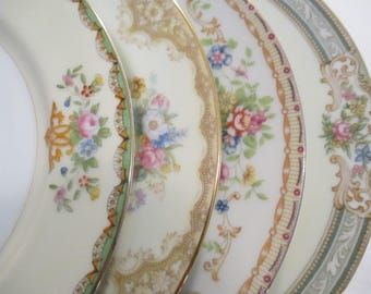 Vintage Shabby Mismatched China Salad Plates, Cottage Chic,Wedding,Tea Party,Bridal Luncheon,Showers,Hostess Gift,Bridesmaid Gift - Set of 4