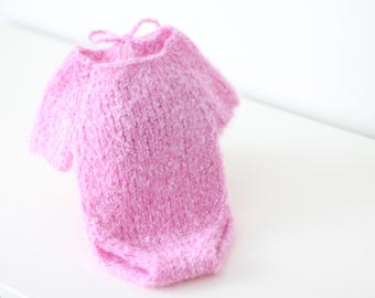 Newborn props - Newborn romper - Baby girl romper - Short sleeve romper - Photo Prop Outfit - Photo prop romper - Pink - Newborn girl -Props